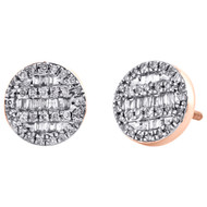 10K Rose Gold Round & Baguette Cut Diamond Circle Earrings 8.50mm Stud 1/3 CT.