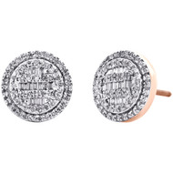 10K Rose Gold Round & Baguette Cut Diamond Circle Earrings 11mm Pave Stud 1/2 CT