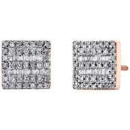10K Rose Gold Round & Baguette Diamond Square Shape Earrings 8.50mm Stud 1/3 CT.