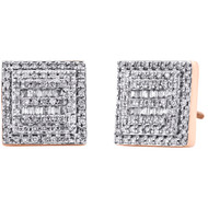 10K Rose Gold Round & Baguette Diamond Square Shape Earrings 11.25mm Stud 1/2 CT