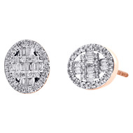 10K Rose Gold Round & Baguette Diamond Oval Frame Earrings 10mm Stud 0.37 CT.