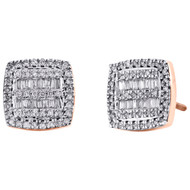 10K Rose Gold Round & Baguette Diamond Cushion Shape Earrings 9.75mm Stud 1/2 CT