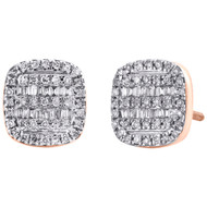 10K Rose Gold Round & Baguette Diamond Cushion Shape Earrings 9.25mm Stud 1/3 CT