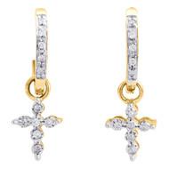10K Yellow Gold Diamond Dangling Cross Hoops Ladies Huggie Earrings 0.10 Ct.