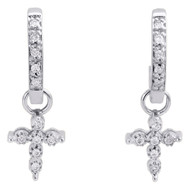 10K White Gold Round Diamond Dangling Cross Hoops Ladies Huggie Earrings 1/10 Ct