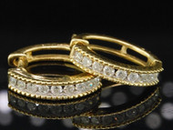 10K LADIES WOMENS YELLOW GOLD ROUND CUT DIAMOND EARRINGS HOOP HUGGIES STUDS .26C