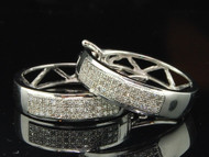 10K Ladies White Gold 2 Row Pave Set Diamond Hoop Huggies Earrings Studs 1/4 ct.