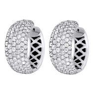 .925 Sterling Silver Diamond Ear Climbers 'S' Curved Earrings 0.95 Long 0.33 CT