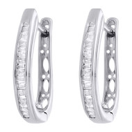 .925 Sterling Silver Baguette Diamond Hoops Ladies Oval Huggie Earrings 0.25 Ct.
