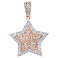 "10K White & Rose Gold Diamond Double Layer Star Pendant 1.60"" Pave Charm 1.62 CT"