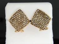 10K LADIES YELLOW GOLD 1.90 CT CHAMPAGNE BROWN DIAMOND EARRINGS HOOPS STUDS