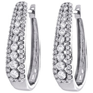 10K White Gold Round Diamond Prong Set Tiered Hoop Earrings 24mm Huggie 0.87 CT.