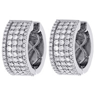 10K White Gold Round Diamond Fancy Hoops Ladies 5 Row Huggie Earrings 1.63 Ct.