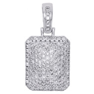 "10K White Gold Real Diamond Pillow Dome Pendant 1.25"" Men's Fancy Charm 1.65 CT."