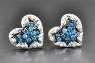 0.25 CT Blue Diamond Studs Heart Love Shape 10K White Gold Designer Earrings