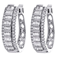 10K White Gold Tapered Baguette Diamond Oval Hinged Hoop Dome Earrings 0.50 CT.