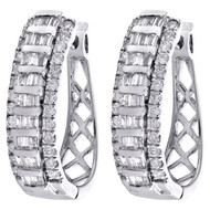 10K White Gold Tapered Baguette Diamond Oval Hinged Hoop Dome Earrings 1 CT.