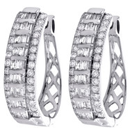 10K White Gold Tapered Baguette Diamond Oval Hinged Hoop Dome Earrings 1.50 CT.