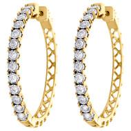 10K Yellow Gold Miracle Set Diamond Large 3.25mm Hinged Hoop Earrings 1 CT.