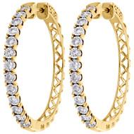 "10K Yellow Gold Real Diamond One Row Bezel Set 1.35"" Hoops Huggie Earrings 1 CT."