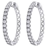 10K White Gold Miracle Set Diamond Large 3.25mm Hinged Hoop Earrings 1 CT.