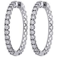 "10K White Gold Real Diamond One Row Bezel Set 1.35"" Hoops Huggie Earrings 1 CT."