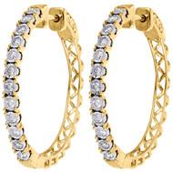 "10K Yellow Gold Diamond One Row Bezel Set 1.10"" Hoops Huggie Earrings 1/2 CT."