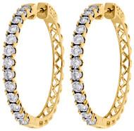 "10K Yellow Gold Diamond One Row Bezel Set 1.55"" Hoops Huggie Earrings 1.50 CT."