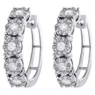 10K White Gold Miracle Set Diamond Ladies 5mm Flower Hinged Hoop Earrings 1 CT.