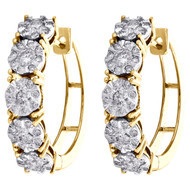 10K Yellow Gold Miracle Set Diamond Ladies 5mm Flower Hinged Hoop Earrings 1 CT.