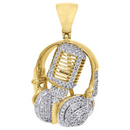 10K Yellow Gold  Diamond Pendant Pave DJ Headphone and Microphone Charm 0.75 Ct.