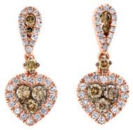 "10K Rose Gold Brown Diamond Halo Heart Shape Earring 0.80"" Ladies Danglers 1 CT."