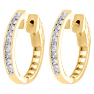 "10K Yellow Gold Channel Set Diamond Hoops Ladies Round Earrings 0.75"" 0.25 CT."
