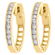 10k Yellow Gold Genuine Diamond One Row Channel Set Huggie Hoop Earrings 1/4 CT.