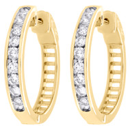 "10K Yellow Gold Channel Set Diamond Hoops Ladies Round Earrings 0.95"" 1 CT."