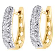 """10K Yellow Gold Genuine Diamond Huggies Ladies Oval Hoop Earrings 0.65"""" 0.50 CT."""