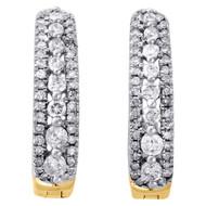 10K Yellow Gold Diamond Tiered Hoop Huggie Hinged Earrings Snap Closure 0.50 CT