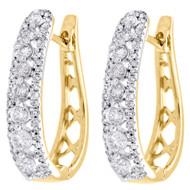 """10K Yellow Gold Genuine Diamond Huggies Ladies Oval Hoop Earrings 0.80"""" 1 CT."""
