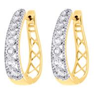 """10K Yellow Gold Genuine Diamond Huggies Ladies Oval Hoop Earrings 0.95"""" 1.50 CT."""