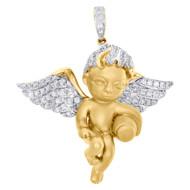 """10K Yellow Gold Diamond Cherub Baby Angel Pendant 1.50"""" Brushed Charm 0.89 CT."""