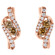 10K Rose Gold Brown Diamond Two Stone Love & Friendship Drop Earrings 0.65 CT.
