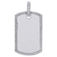 "10K White Gold Diamond Dog Tag Memory Frame Picture Pendant 1.85"" Charm 0.26 CT."