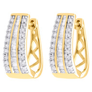 "10K Yellow Gold Baguette Diamond Huggie Ladies Oval Hoop Earrings 0.75"" 1 CT."