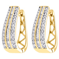 "10K Yellow Gold Baguette Diamond Huggie Ladies Oval Hoop Earrings 1.00"" 1.50 CT."