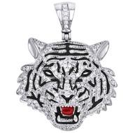 "10K White Gold 3D Tiger Face Round Diamond Pendant 1.70"" Mens Charm 1.58 CT."