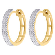 "10K Yellow Gold Genuine Diamond 3 Row Mini Hoops Earrings 0.60"" Pave Set 1/5 CT."
