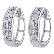 10k White Gold Three Row Real Diamond 20mm Pave Set Huggie Hoop Earrings 0.22 CT