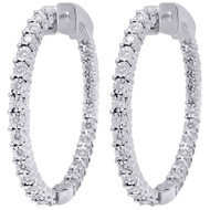 10K White Gold Round Diamond Inside Out Hoop Eternity Earrings In & Out 0.50 Ct.