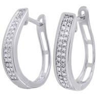 .925 Sterling Silver Diamond Hoops Ladies 2 Row Pave Huggie Earrings .33 Ct.