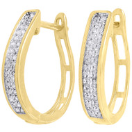 .925 Sterling Silver Diamond Hoops Ladies 2 Row Pave Huggie Earrings 0.33 Ct.